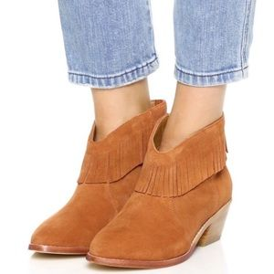 Joie Suede Leather Fringe Brown Heeled Ankle Boots